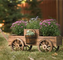 2-Tiered Wooden Wagon Garden Planter
