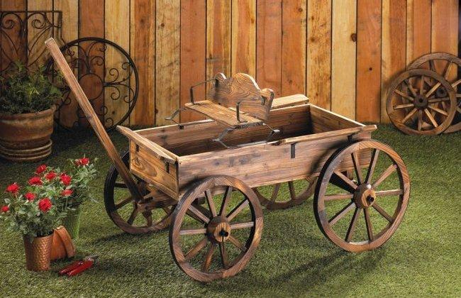 Buckboard garden decor wagon for Yard decorations for sale