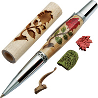 Woodturner's Red Rose Laser Cut Inlay Pen Kit Blank