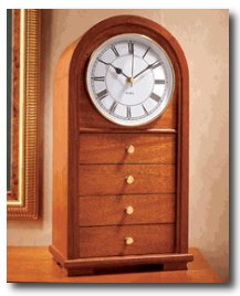 Arched-Top Clock with Drawers Woodworking Plan