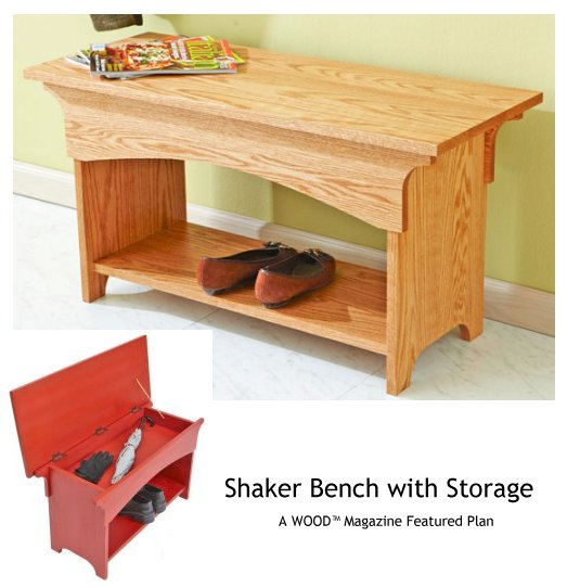 Woodworking shaker storage bench plans PDF Free Download