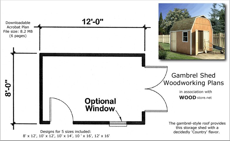 Dan ini wood storage sheds 8x10 for Free gambrel shed plans with loft