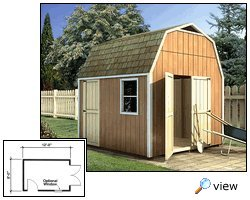 The gambrel-style roof provides this storage shed with a decidedly